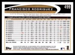 2012 Topps #499  Francisco Rodriguez  Back Thumbnail