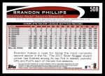 2012 Topps #508  Brandon Phillips  Back Thumbnail