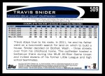 2012 Topps #509  Travis Snider  Back Thumbnail