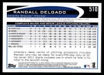 2012 Topps #510  Randall Delgado  Back Thumbnail