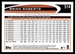2012 Topps #514  Brian Roberts  Back Thumbnail