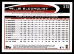 2012 Topps #515  Willie Bloomquist  Back Thumbnail