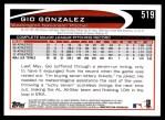 2012 Topps #519  Gio Gonzalez  Back Thumbnail