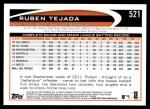 2012 Topps #521  Ruben Tejada  Back Thumbnail