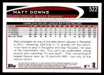 2012 Topps #522  Matt Downs  Back Thumbnail