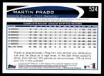 2012 Topps #524  Martin Prado  Back Thumbnail