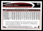 2012 Topps #527  Aaron Hill  Back Thumbnail