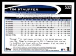 2012 Topps #532  Tim Stauffer  Back Thumbnail