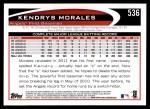 2012 Topps #536  Kendrys Morales  Back Thumbnail