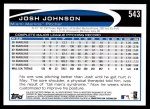 2012 Topps #543  Josh Johnson  Back Thumbnail