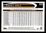2012 Topps #545  Randy Wolf  Back Thumbnail