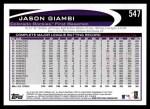 2012 Topps #547  Jason Giambi  Back Thumbnail