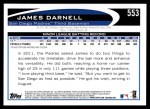 2012 Topps #553  James Darnell  Back Thumbnail