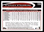 2012 Topps #556  Stephen Strasburg  Back Thumbnail