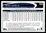 2012 Topps #565  Dan Uggla  Back Thumbnail