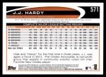2012 Topps #571  J.J. Hardy  Back Thumbnail