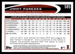 2012 Topps #585  Jimmy Paredes  Back Thumbnail