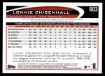 2012 Topps #603  Lonnie Chisenhall  Back Thumbnail