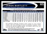 2012 Topps #605  Jason Bartlett  Back Thumbnail