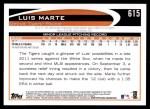 2012 Topps #615  Luis Marte  Back Thumbnail