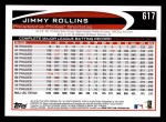 2012 Topps #617  Jimmy Rollins  Back Thumbnail