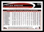 2012 Topps #619  Tyler Greene  Back Thumbnail