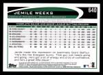 2012 Topps #640  Jemile Weeks  Back Thumbnail