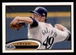 2012 Topps #654  Yovani Gallardo  Front Thumbnail