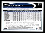 2012 Topps #657  Dave Sappelt  Back Thumbnail