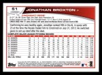 2013 Topps #51  Jonathan Broxton   Back Thumbnail