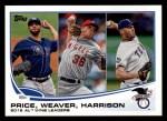2013 Topps #95   -  Matt Harrison / David Price / Jered Weaver  AL Wins Leaders Front Thumbnail