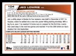 2013 Topps #104  Jed Lowrie   Back Thumbnail