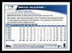 2013 Topps #116  Brian McCann   Back Thumbnail