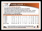 2013 Topps #119  Chris Davis   Back Thumbnail