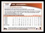 2013 Topps #143  Jim Johnson   Back Thumbnail