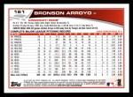 2013 Topps #161  Bronson Arroyo   Back Thumbnail