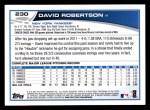 2013 Topps #230  David Robertson   Back Thumbnail