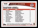 2013 Topps #246   -  Ryan Braun / Giancarlo Stanton / Jay Bruce  NL HR Leaders Back Thumbnail