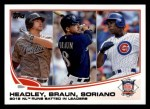 2013 Topps #272   -  Ryan Braun / Alfonso Soriano / Chase Headley  NL Runs Batted In Leaders Front Thumbnail