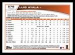 2013 Topps #276  Luis Ayala   Back Thumbnail