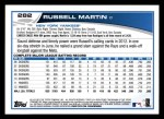 2013 Topps #282  Russell Martin   Back Thumbnail