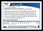 2013 Topps #290  Tom Layne   Back Thumbnail