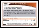 2013 Topps #298  Pablo Sandoval   Back Thumbnail
