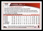 2013 Topps #302  Aaron Hill   Back Thumbnail