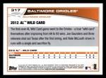 2013 Topps #317  Baltimore Orioles   Back Thumbnail