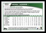 2013 Topps #334  Derek Norris  Back Thumbnail