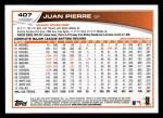 2013 Topps #407  Juan Pierre  Back Thumbnail