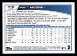 2013 Topps #419  Matt Moore  Back Thumbnail