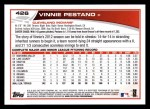 2013 Topps #426  Vinnie Pestano  Back Thumbnail