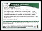 2013 Topps #433  Andrew Werner  Back Thumbnail
